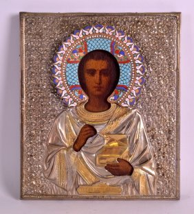 A Large Russian Silver And Enamel Icon Depicting A