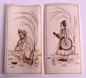 A Pair Of 19th Century Indian Painted Ivory Miniatures