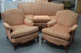 A Victorian Upholstered Three Piece Salon Suite