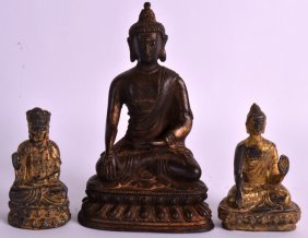 A Pair Of Early 20th Century Chinese Gilt Metal Buddhas