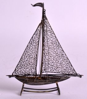 A Late 19th Century Chinese Export Silver Filigree Boat