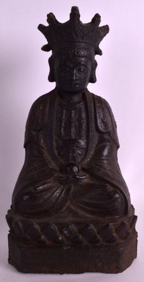 A Chinese Cast Iron Figure Of Guanyin Probably Late