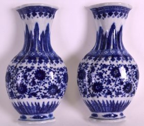 A Pair Of 18th Century Chinese Blue And White Wall