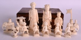 A Small Collection Of 19th Century Chinese Canton Ivory
