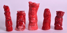 A Group Of Five Chinese Carved Coral Figures In Various
