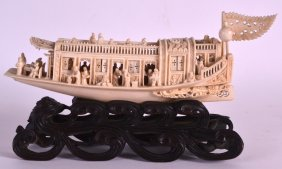 A Mid 19th Century Chinese Carved Canton Ivory Boat