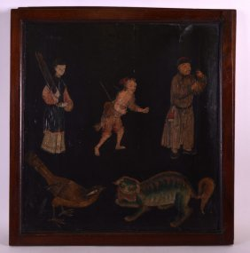 A Rare Pair Of 17th/18th Century Chinese Framed Lacquer