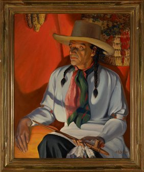 V.A. Lambert, Indian In Firelight