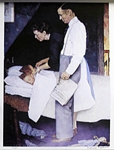 """Lithograph """"freedom Of Fear"""" After Norman Rockwell"""