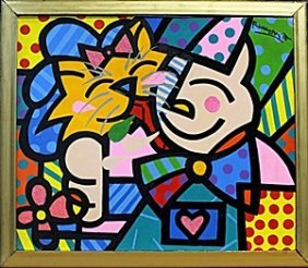 Girl & Cat - Oil Painting On Canvas By Romero Britto