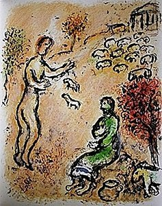 """Lithograph """"ulysses And Eumaeus"""" By Chagall From The"""