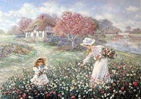 """Lithograph """"rose Garden"""" After Lee Dubin"""