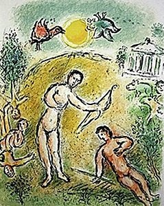 """Lithograph """"ulysses And Penelope"""" By Chagall From The"""