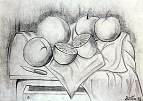 Bodegon Con Frutas - Drawing On Paper - F. Botero