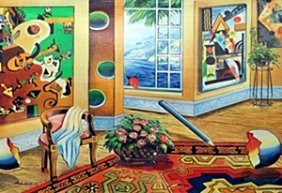 """Serigraph """"interior With View"""" After Astanov"""