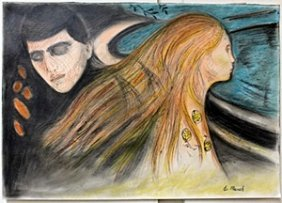 Pastel Painting On Paper By Edvard Munch