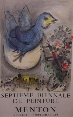 Chagall Lithograph Dove Menton Borlier