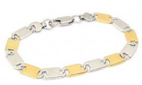Two-tone Bracelet 18 Karat Gold On Stainless Steel