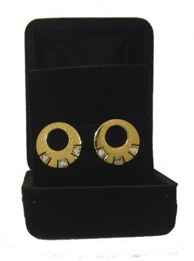 Stainless Steel Wholesale Earring With Cz Yellow Gold B
