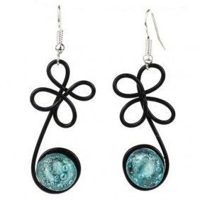 "Enameled Wire And Aqua Glass Bead ""sprout"" Earrings - C"