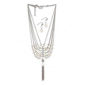 Vintage Crystal Tassel Jewelry Set