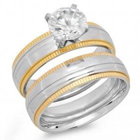 Ladies Double Engagement Ring 18 Karat Gold On Steel