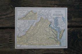 Genuine Authentic 1930 Map Of Virginia
