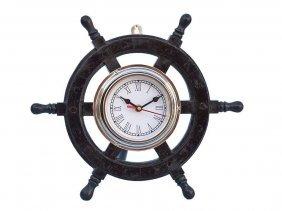 "Shisham Wood And Chrome Pirates 12"" Ship Wheel Clock"