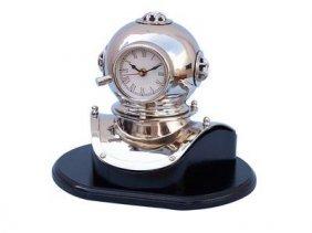 """Antique Style Chrome 12"""" Divers Helment Clock On Black"""