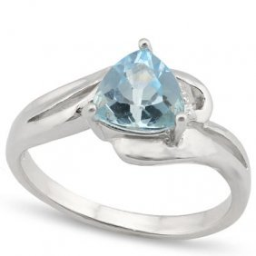 Genuine 1.35 Ctw Blue Topaz And Diamond Platinum Plated