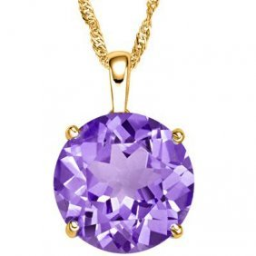 Genuine 0.50 Ctw Amethyst Solid 10k Yellow Gold Pendant