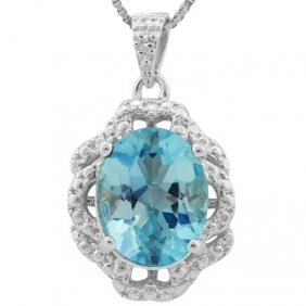 Genuine 3.21 Ctw Blue Topaz And Diamond Platinum Plated