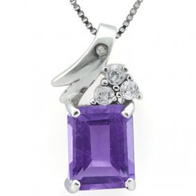 Genuine 2.32 Ctw Amethyst And White Topaz Platinum Plat