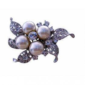 Cubic Zircon & Pearls Bridemades Wedding Dress Brooch P
