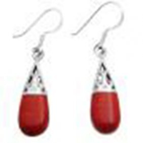 Coral Shell Teardrop Sterling Silver Filigree Earrings