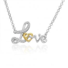 .925 Sterling Silver And 14k Gold In Love Diamond Neckl