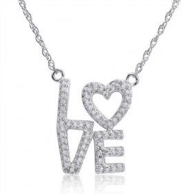 Sterling Silver And Diamond Love Necklace