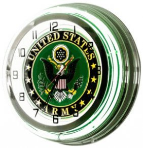 "Neon Wall Clock ""united States Army"""