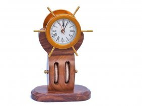 """Nautical Solid Brass 12"""" Ship Wheel Clock On Wooden Pul"""