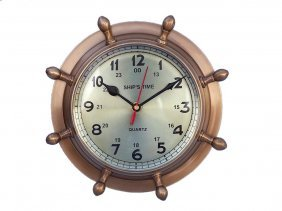 "Antique Style Solid Brass Double Dial Nautical 8"" Wheel"