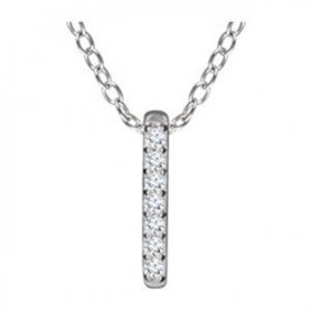 .05 Ctw Diamond Vertical Bar Necklace In 14k Gold
