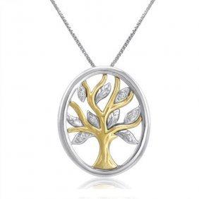 Igi Certified Diamond Tree Pendant In Sterling Silver/1