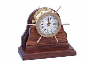 "Nautical Solid Brass 8"" Ship Wheel Clock W/wooden Base"