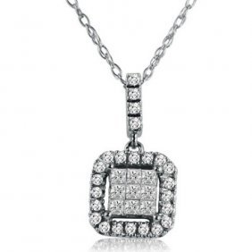 Princess And Round Diamond Necklace In 10k Gold
