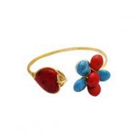 Classy Gold Cuff Bracelet Turquioise & Coral Stones Emb