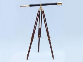 Nautical Floor Standing Brass/leather Galileo Telescope