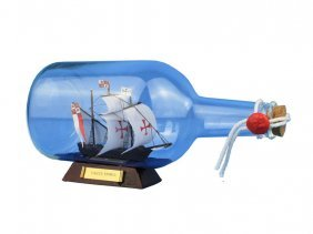 "Nautical Santa Maria Ship In A Bottle 9"" On Wooden Base"