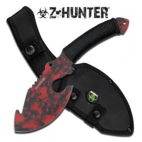 """Zombie Hunter Edition 11"""" Red Skulls Camouflage Stainl"""