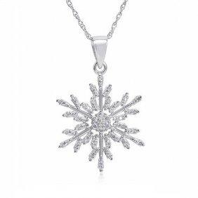 .005 Ctw Diamond Snowflake Necklace