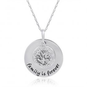 .925 Sterling Silver And Diamond Family Is Forever Neck